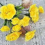 Snow Island ünstliche Blumen, 11 Nelken aus Seide und Kunststoff für Brautschmuck, Hochzeit, Blumenstrauß, Zuhause, Garten, Party, Hochzeit, Dekoration
