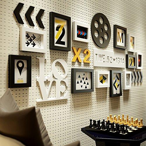 Photo frame.A ASL Massivholz Foto Wand Rahmen Buchstabe Kombination Kreativ Das Unternehmen Büro Wohnzimmer Restaurant Schlafzimmer Wand Modern Qualität (Farbe : A)