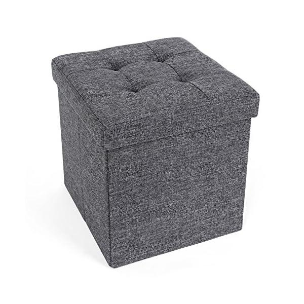 SONGMICS Ottoman Linen Fabric Folding Storage Bench Versatile Space-saving 1