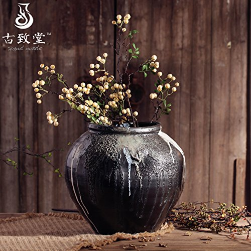 NOHOPE Manuelle Retro Keramik Groß Schwarz Bodenvasen Emulation Blumenkübel Home Decor grobe Keramik Blumentopf Ornamente,??