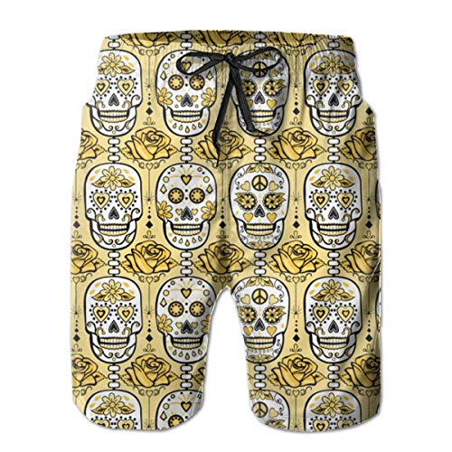 Dress rei Yellow Sugar Skulls Men's Swimming Trousers Quick-Drying Beach Polyester Shorts -