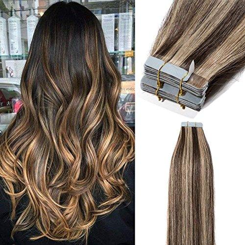 40 fasce extension adesive capelli veri remy human hair con biadesivo lunghi lisci 100g tape extension 2.5grammi/ciocca 40cm, 4 marrone cioccolato mix #27 biondo scuro