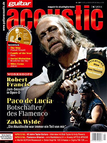guitar acoustic 4 2014 mit CD - Paco de Lucía - Interviews - Akustikgitarre Workshops - Akustikgitarre Playalongs - Akustikgitarre Test und Technik - Akustikgitarre Noten