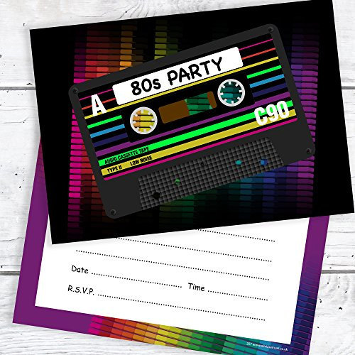 Olivia Samuel 80s Party Invites - Ready to Write 1980s party Invitations with Envelopes (Pack 10)