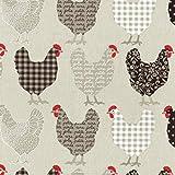 Baumwollstoff | Hühner Modenschau Stoff - hell-taupe,