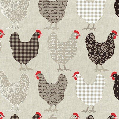 Baumwollstoff | Hühner Modenschau Stoff - hell-taupe, dunkel-taupe, Schokolade, rot und weiß (Grundfarbe: beige) | 100% Baumwolle | Stoffbreite: 160 cm (pro Laufmeter)*