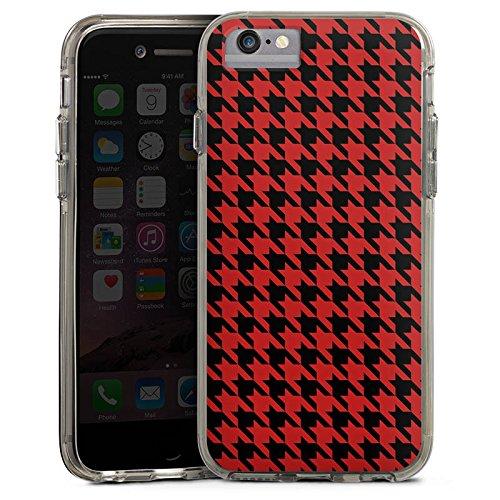 Apple iPhone 6 Bumper Hülle Bumper Case Glitzer Hülle Pattern Muster Hahnentritt Bumper Case transparent grau