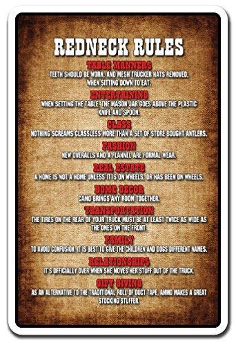 Neuheit Schild Geschenk Redneck Rules Geschenk Country Southern Hillbilly Funny Humor Yard Dekorative Aluminium Metall Schild für Schlafzimmer, Büros - Lustiges Redneck-humor