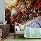 Thor Marvel Avengers Thor - Forwall - Fototapete - Tapete - Fotomural - Mural Wandbild - (957WM) - XL - 208cm x 146cm - VLIES (EasyInstall) - 2 Pieces