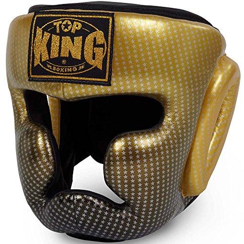 TOP KING Kopfschutz, Super Star, gold, Head Guard, Protector, Leather, MMA