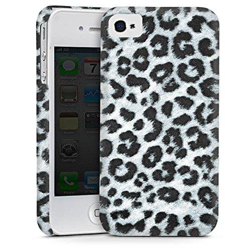 Apple iPhone 4 Hülle Premium Case Cover Leopard Fell Grau Animal Print (Leopard-druck Iphone 4 Case)