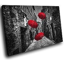 SC865GSB Gerahmte Leinwanddruck Bunte Wand Kunst   Schwarz Weiß Rot Stadt  Regenschirm   Moderne Scenic