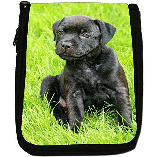 Staffordshire Bull Terrier Staffy personale Cane Medio Nero Borsa In Tela, taglia M Little Black Staff Puppy