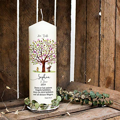 ilka parey wandtattoo-welt Taufkerze Kerze zur Taufe Baum rosa Hase Entchen Wunschname Spruch individualisierbar wk121 - ausgewählte Größe: *1. Taufkerze*