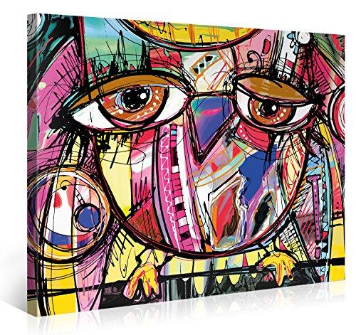 Stampa su tela, motivo: gufo, montata su telaio in legno, stampa giclée su tela, tela, multi, 100x75cm