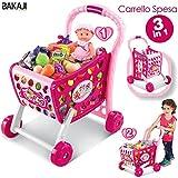 BAKAJI Carrello della Spesa Supermarket 3in1 con Frutta e Verdura Giocattolo per Bambini (Rosa)