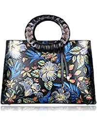 Pijushi Floral Handbags And Purses Designer Leather Tote Handbag For Women Top Handle 6016(One Size, Black Floral)