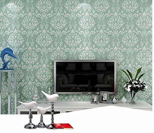 JSLCR 3D geprägtes Vlies Tapeten Schlafzimmer Wohnzimmer Hotel continental Damaskus Tapete,Hellgelb