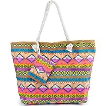 ZWOOS Bolsa de Playa de Lona Mujer Grande Bolso de Mano Shopper Bolsa con Cremallera