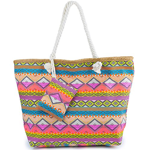 ZWOOS Bolsa de Playa de Lona Mujer Grande Bolso de Mano Shopper Bolsa con Cremallera (Bohemia 1)