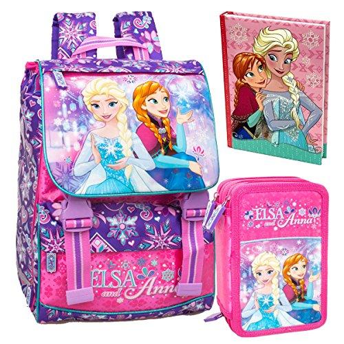Disney Frozen CLONDO-0024 Zaino da Scuola, Estensibile + Astuccio, 3 Scomparti + Diario Scuola, Elsa, Anna