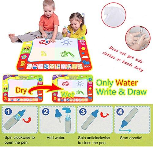 80*60CM Magia Doodle Comida/Agua Dibujo Pintura Comida AEVEA Pizarra mágica Comida Doodle Deluxe Maxi Pad Pack de 4 bolígrafos para pizarra mágica