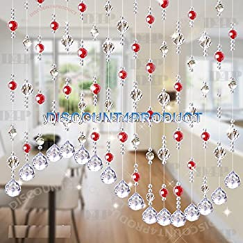 Discount4Product Crystal Bead Decorative Curtain (20 Strings_Red)