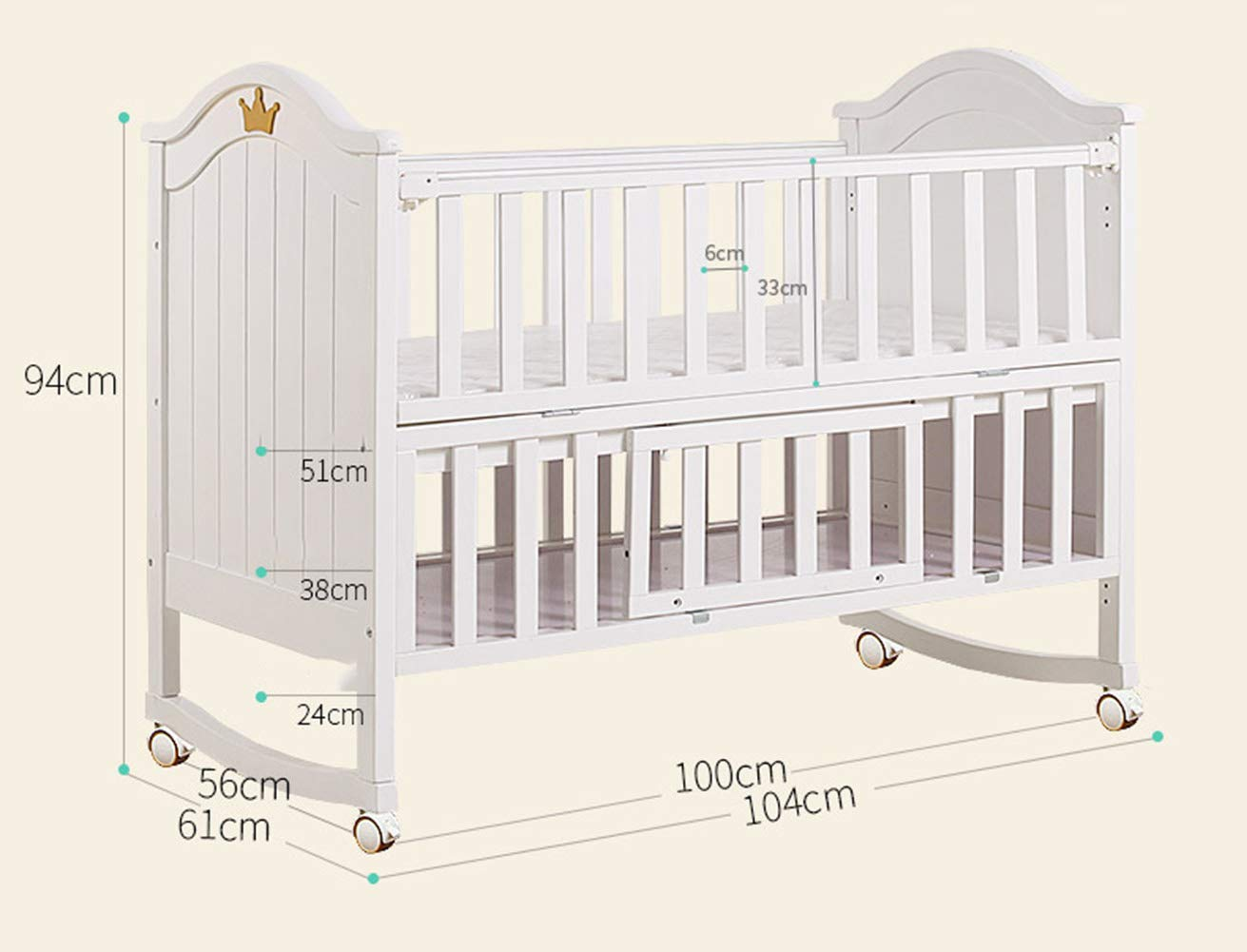 XUNMAIFLB Removable Toddler Bed, Baby Cot Bed, Multifunctional crib, solid wood baby bed (105 * 61cm/with roller) Safety XUNMAIFLB Life learning is more intimate: variable desk, smoother use, more functional, longer life. The splicing big bed is convenient for taking care: put down the half guardrail, splicing with the side of the adult bed, and taking care of the baby at close range at night. The splicable bed rails can be detached on one side of the bed; the splicing bed is just right; the night is convenient to take care of; 6