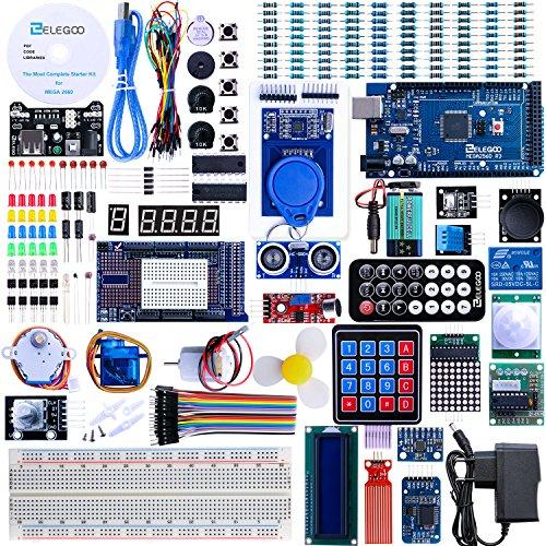 61DxdFvu gL - Elegoo Conjunto Mas Completo y Avanzado de Iniciación a Arduino MEGA 2560 con Guías Tutorial en Español y Conjunto de Arduino con Placa Controladora MEGA 2560, LCD1602, Servomotor, Motor paso a Paso, Arduino Mega Kit Starter Kit