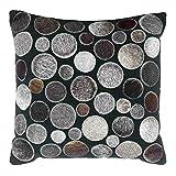 Livorio Exklusives Patchwork-Kuhfell-Kissen - 40x40cm - handgefertigt - Circle schwarz grau braun - 100% Naturprodukt