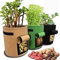 jardín crecer de patata bolsa, Sacos para Plantas, HomeYoo 3 unidades 7 gallon Juego de bolsas de cultivo, bolsa para plantar patatas de bolsas con ventana para cultivar hortalizas: patata, zanahoria y cebolla (3)