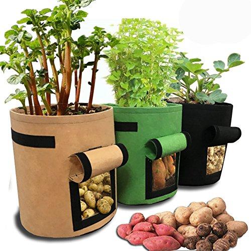 HomeYoo Kartoffel pflanzbeutel, Pflanztasche, 3 Stück Pflanze Wachsende Tasche, 7 Gallons Grow Bag Garten Übertopf Vliesstoff Pflanzsack mit Griffe für Kartoffeln, Tomaten und Erdbeeren (3)