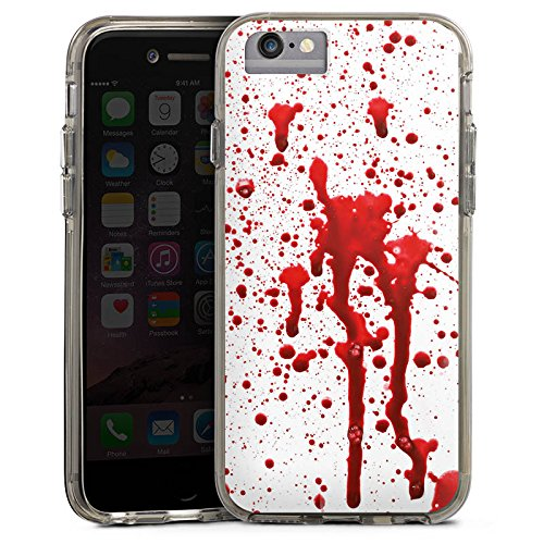 Apple iPhone 8 Bumper Hülle Bumper Case Glitzer Hülle Blood Blut Halloween Bumper Case transparent grau