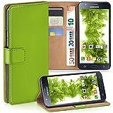 moex Samsung Galaxy J5 (2015) | Hülle Grün mit Karten-Fach 360° Book Klapp-Hülle Handytasche Kunst-Leder Handyhülle für Samsung Galaxy J5 2015 Case Flip Cover Schutzhülle Tasche