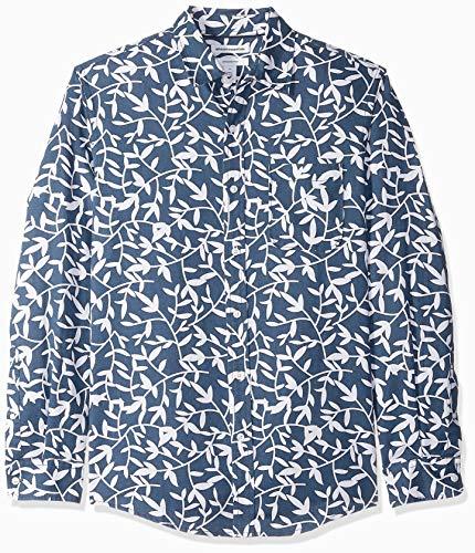 Amazon Essentials Slim-Fit Long-Sleeve Stripe Linen button-down-shirts, Navy Leaf Print, US L (EU L) -