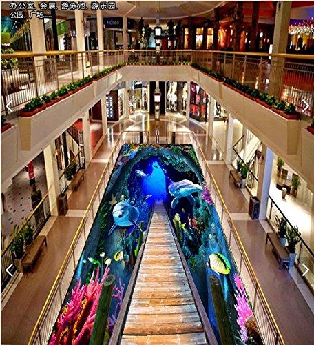 Vlies Tapete Wandbilder Custom Self Adhesive Immersive Underwater World 3D Floor Of The Mall Hotel Bathroom Floor Waterproof Abrasive Paper