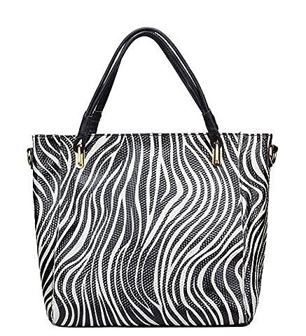 Aibag Womens Genuine Leather Tote Zebra Stripe Shoulder Bag