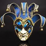 Máscara veneciana romana griega, máscara de máscara, disfraz de Halloween, bola para fiesta, decoración de suministros máscara con personalidad azul
