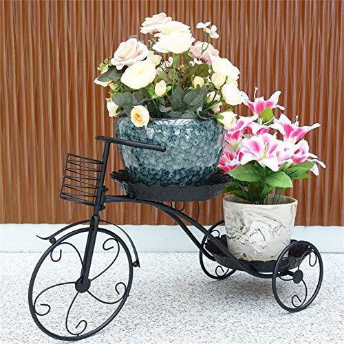 Cxmm Hause rost Fahrrad Form Eisen Kunst Blume Racks/Ständer Kreative Boden Topfpflanzen Stehen für Balkon Wohnzimmer Schlafzimmer Garten (Farbe: SCHWARZ, Größe: 77 * 45 * 31 cm) -