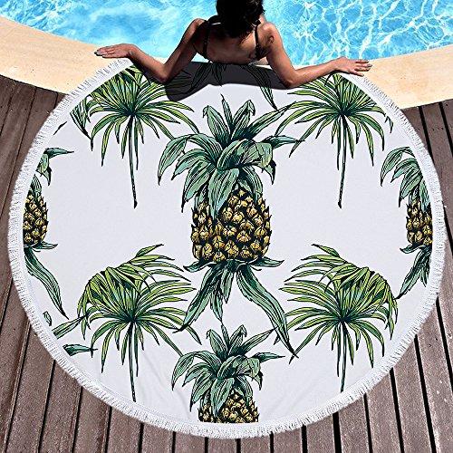 Papagei Blätter rund um Runde Strand werfen Gobelin Hippie Boho Gypsy Baumwoll Strand Handtuch, Yoga-Matte, Wandteppich, Picknick-Matte, Tisch zu werfen, Tischdecken, Picknick Tuch Schal Pattern3 150x150 cm (Nautische Bettdecken Bett)