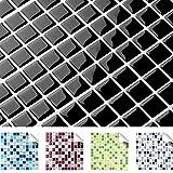 4er Set 25,3 x 25,3 cm schwarz Fliesenaufkleber Design 8 I 3D Mosaik verschiedene Farben und Größen Küche Bad Grandora W5193