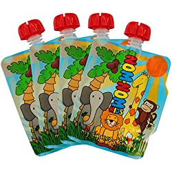 Nom Nom Kids 140ml ANIMAL bolsas de comida para bebés reutilizables - 4 pack