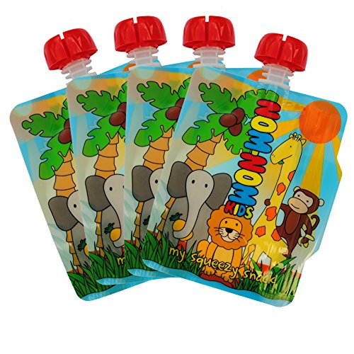 Reusable Food Pouch - 140ml Animal design - BPA Free - no leak side double zip design - easy to fill for baby, toddler and kids squeeze snacks, smoothies, fruit puree