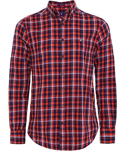 Gant Uomo taglio regular camicia a quadri nordico Zucca Arancia Zucca Arancia