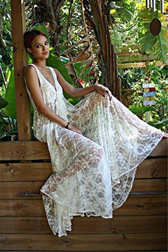 Esen-fa Sexy Strandkleid, langer Cardigan, Badebekleidung, aus durchsichtiger Spitze Weiß B
