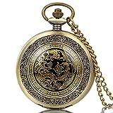 JewelryWe Retro Taschenuhr Drachen Phönix Herren Kettenuhr Analog Quarz Uhr