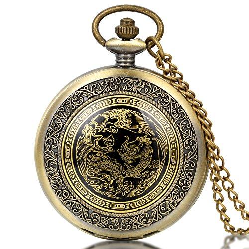 JewelryWe Retro Taschenuhr Drachen Phönix Herren Kettenuhr Analog Quarz Uhr mit Halskette Kette Pocket Watch Vatertag Geschenk