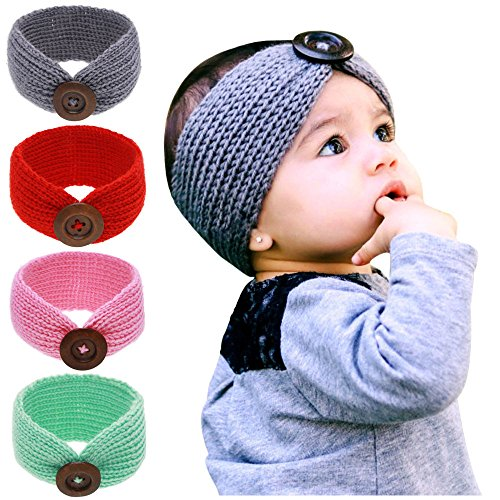 Fdit Button Pattern Yarn Headband Photography Prop Children's Knitted Wool Rabbit Ears Hair Band for Kids (7.48x3.54-inch, Red)