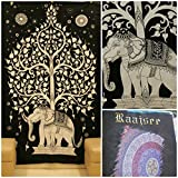 raajsee-Indian Mandala Wandteppich, Tapisserie, Hippie Elefant Baum des Lebens, Bohemian Boho Tapisserie, Schlafsaal, Wandteppich, Tapisserie, Wand Wandbehänge Tagesdecke # BS83