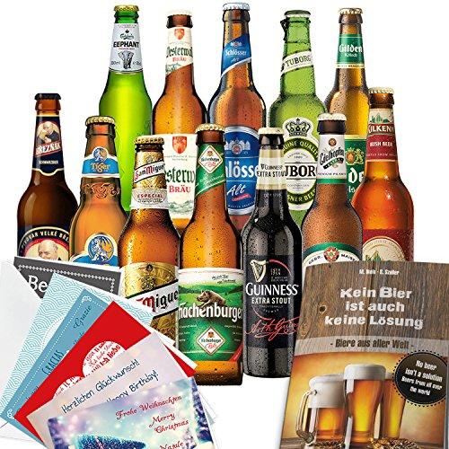 """12x Bier Geschenke """"Welt & Deutschland"""" Geschenkset mit Bier aus Türkei + Dänemark + Niederlande +…Efes + Tuborg + Heineken +… und aus Deutschland. Tolles Bier Geschenk für Männer mit Biersorten aus ganz Deutschland und aus aller Welt. Besser als Bier selber machen oder selbst brauen. Biergeschenke für Papa + Vater + Väter + Opa + … Geschenke für Männer mit Bier"""